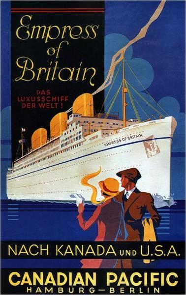 Office Decor Mixed Media - Canadian Pacific - Hamburg-berlin - Empress Of Britain - Retro Travel Poster - Vintage Poster by Studio Grafiikka