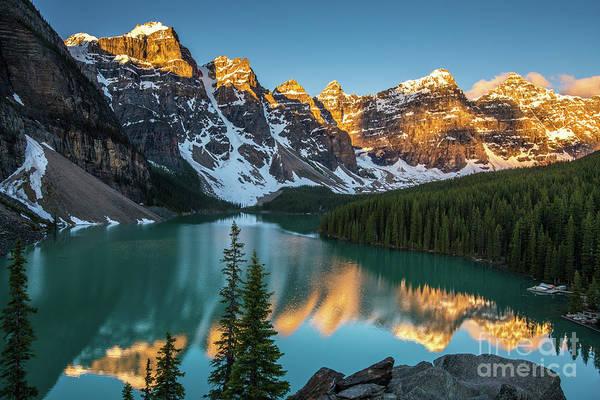 Moraine Lake Photograph - Canadian Rockies Golden Sunrise Light Reflection by Mike Reid