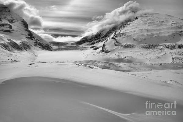 Photograph - Canadian Rockies Winter Curves And Mountains Black And White by Adam Jewell