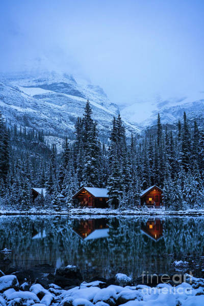 Moraine Lake Photograph - Canadian Rockies Winter Lodges Snow Reflection by Mike Reid