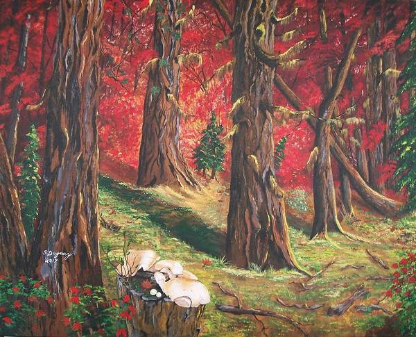 Painting -  Canadian White Pine And Red Maple by Sharon Duguay