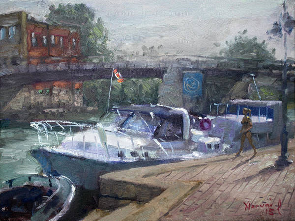 Urban Scene Painting - Canadian Yacht At Tonawanda Harbor by Ylli Haruni