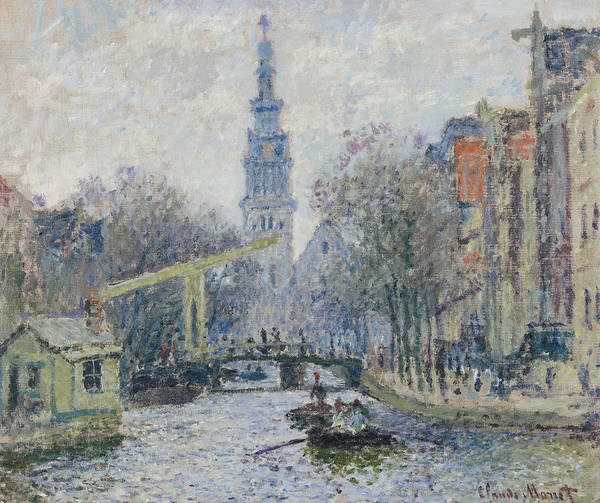 Monet Painting - Canal Amsterdam by Claude Monet