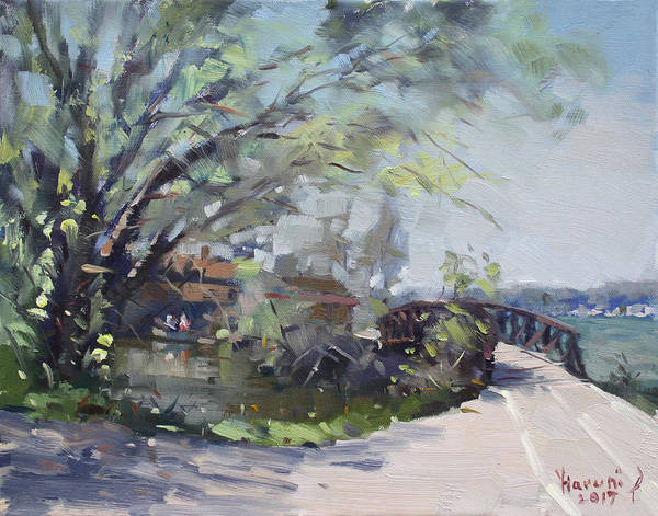 Canal Painting - Canal At Niawanda Park by Ylli Haruni