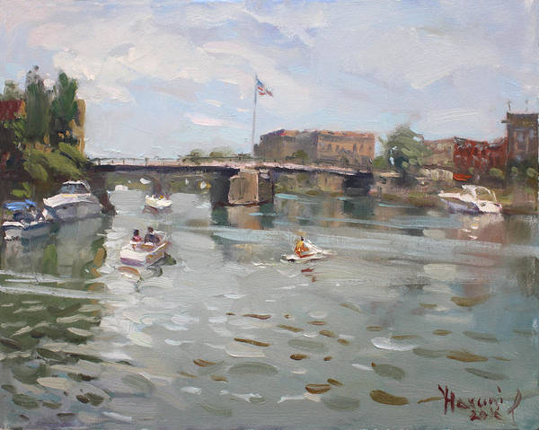 Tonawanda Wall Art - Painting - Canal At Tonawanda City by Ylli Haruni