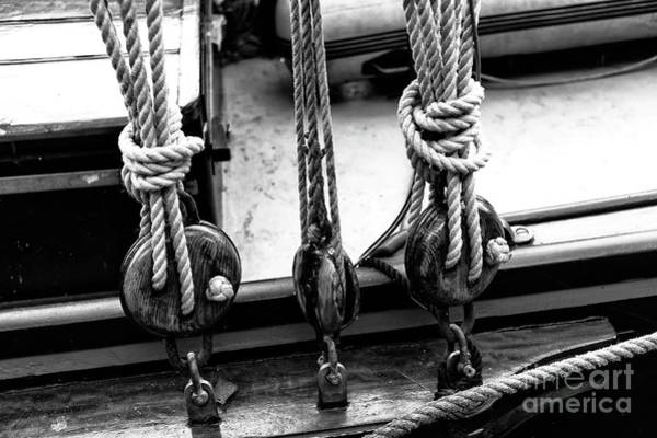 Wall Art - Photograph - Canal Boat Knots Mono by John Rizzuto