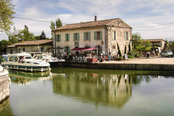 Photograph - Canal Du Midi At Bram In Southern France - Restaurant And Houseboats by Menega Sabidussi
