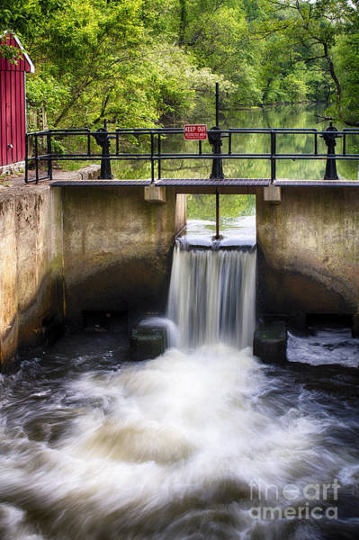 Canal Lock And Rushing Water Art Print