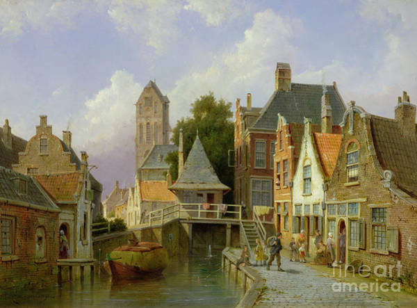 Holland Wall Art - Painting - Canal Scene In Holland, 1898  by Pieter Christiaan Cornelis Dommelshuizen