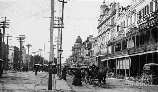 Steam Boat Photograph - Canal St. New Orleans Ca 1880  by Jon Neidert