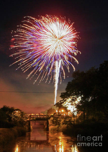 Photograph - Canal View Of Fire Works by Paula Guttilla