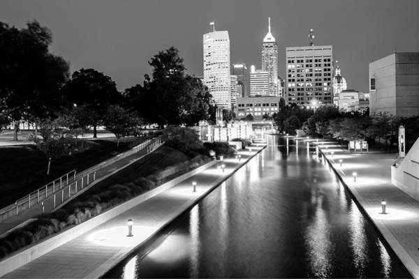 Photograph - Canal Walk To The Downtown Indianapolis Skyline - Black And White by Gregory Ballos