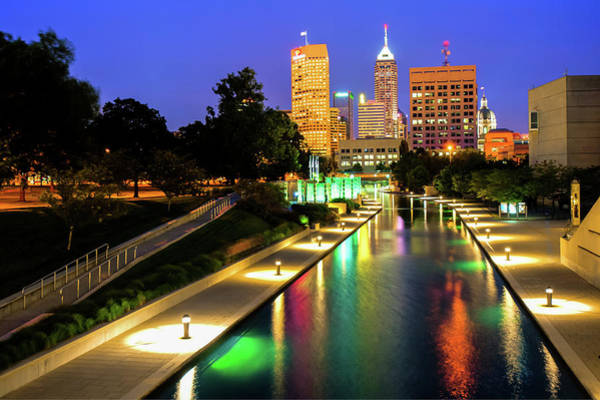 Photograph - Canal Walk To The Downtown Indianapolis Skyline by Gregory Ballos