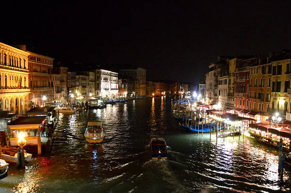 Photograph - Canals Of Venice At Night by Chris Alberding