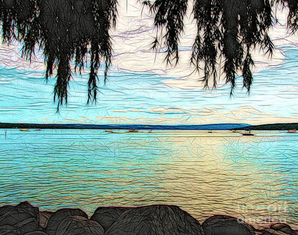 Mixed Media - Canandaigua Lake Stained Glass Look Effect by Rose Santuci-Sofranko