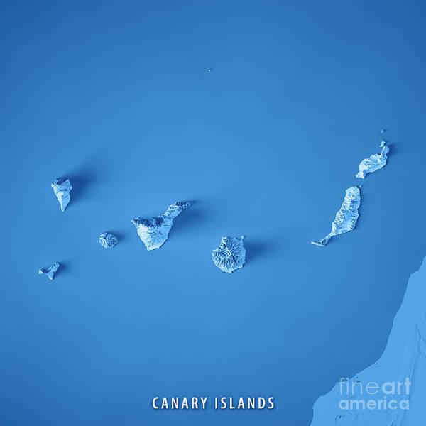 La Gomera Wall Art - Digital Art - Canary Islands 3d Render Topographic Map Blue by Frank Ramspott