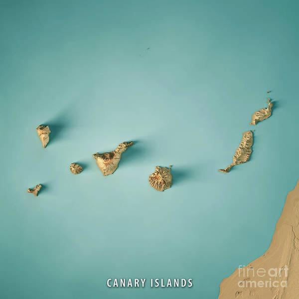 La Gomera Wall Art - Digital Art - Canary Islands 3d Render Topographic Map by Frank Ramspott