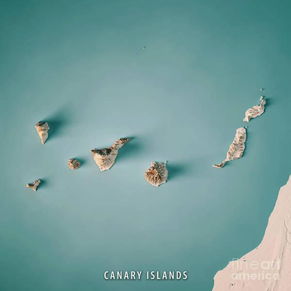 La Gomera Wall Art - Digital Art - Canary Islands 3d Render Topographic Map Neutral by Frank Ramspott