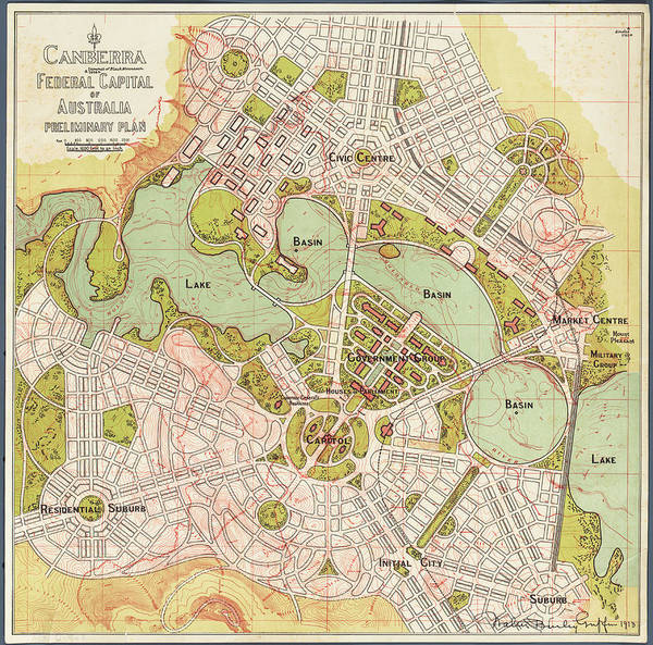 Beautiful Park Drawing - Canberra Preliminary Plan 1913 by Walter Burley Griffin