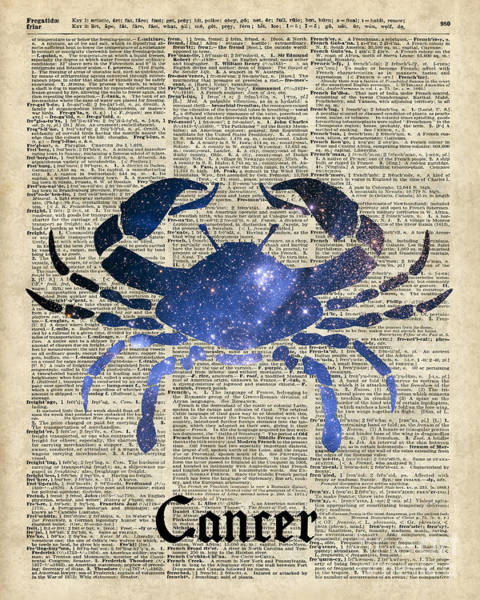 Wall Art - Digital Art - Cancer Crab Zodiac Sign  by Anna W