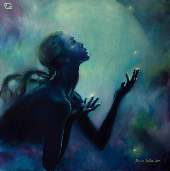 Constellation Painting - Cancer Zodiac Sign by Dorina  Costras