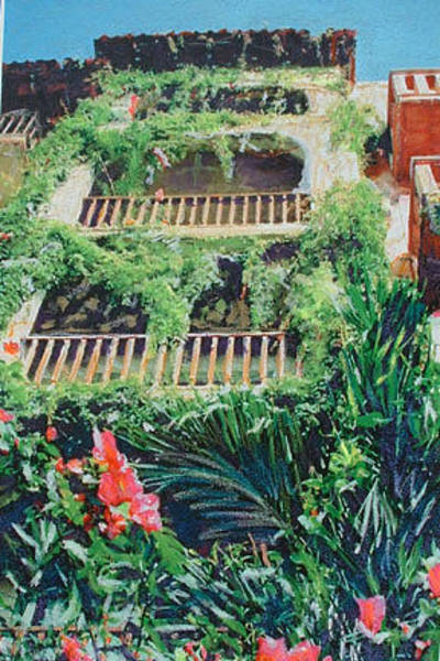Mixed Media - Cancun Garden by Banning Lary
