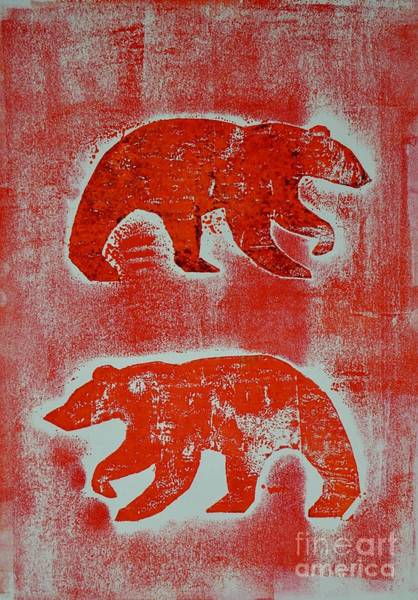 Art Print featuring the mixed media Candadian Bears Two  by Corina Stupu Thomas