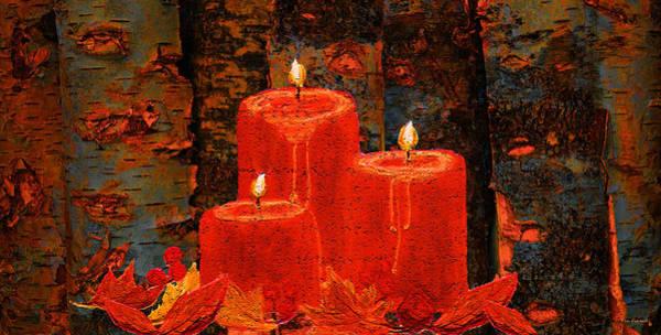 Yule Tide Painting - Candle On Birch Logs by Ken Figurski