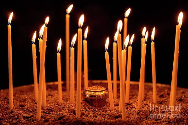 Photograph - Candles At The Church Of Holy Luke At Monastery Of Hosios Loukas In Greece by Global Light Photography - Nicole Leffer