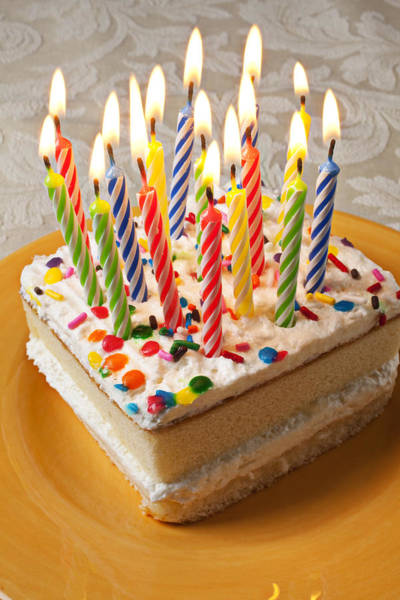 Wish Photograph - Candles On Birthday Cake by Garry Gay
