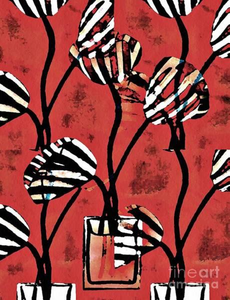Stripe Mixed Media - Candy Stripe Tulips 2 by Sarah Loft