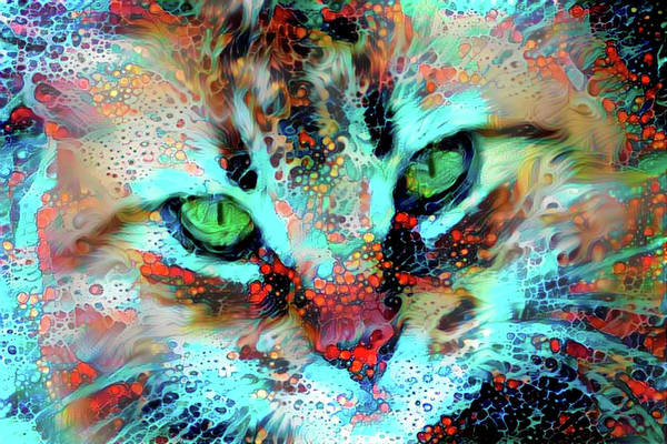 Digital Art - Candy The Colorful Green Eyed Cat by Peggy Collins