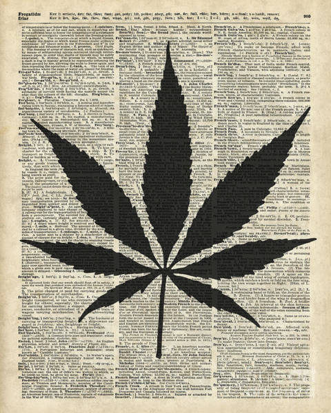 Wall Art - Digital Art - Cannabis Plant Stencil by Anna W