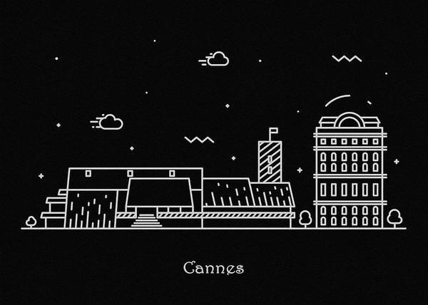 Cannes Skyline Travel Poster Art Print
