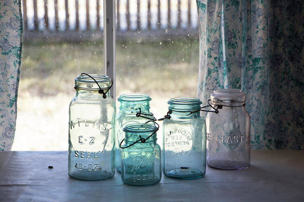 Photograph - Canning Jars In The Window by Teresa Wilson