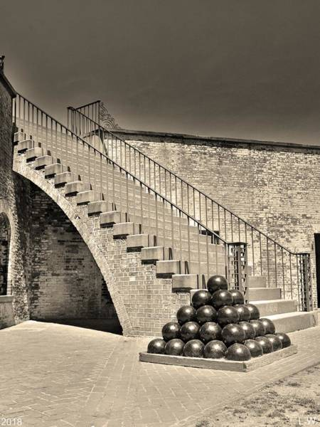 Photograph - Cannon Balls And The Stairs At Fort Macon North Carolina Black And White by Lisa Wooten