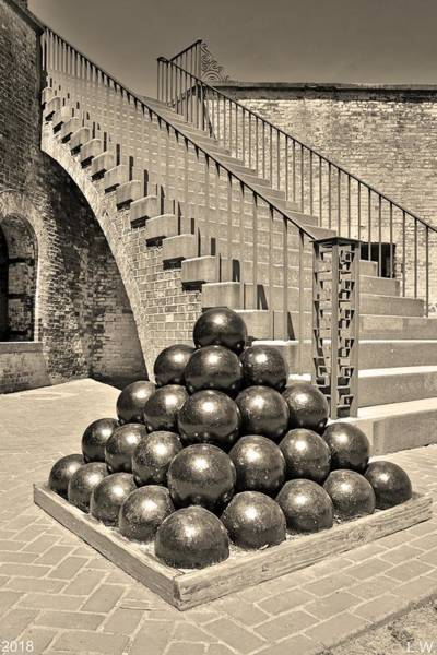 Photograph - Cannon Balls And The Stairs At Fort Macon North Carolina Black And White Vertical by Lisa Wooten