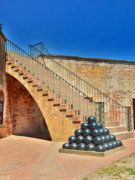 Battle Of The Atlantic Wall Art - Photograph - Cannon Balls And The Stairs At Fort Macon North Carolina  by Lisa Wooten