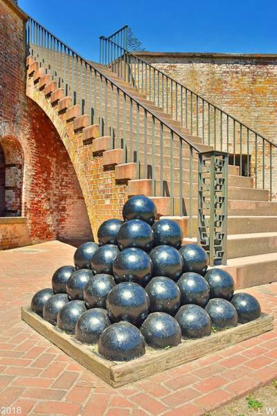 Battle Of The Atlantic Wall Art - Photograph - Cannon Balls And The Stairs At Fort Macon North Carolina Vertical by Lisa Wooten