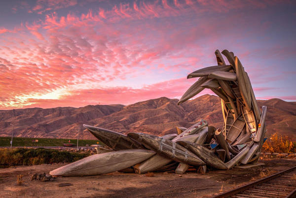Lewiston Photograph - Canoe Art Sculpture With Pink Clouds by Brad Stinson