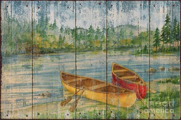 Camp Painting - Canoe Camp - Distressed by Paul Brent