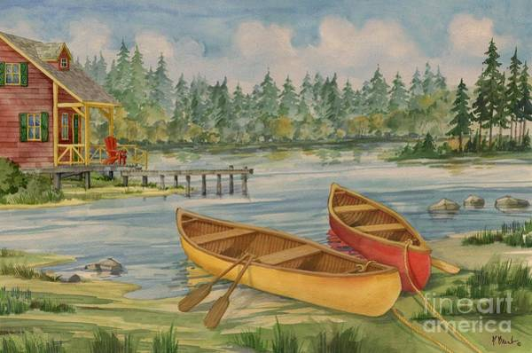 Camp Painting - Canoe Camp With Cabin by Paul Brent