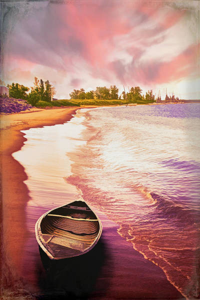 Photograph - Canoe In The Summer At Sunset by Debra and Dave Vanderlaan