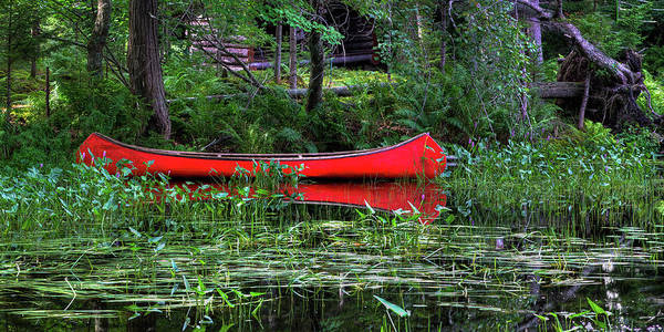 Lean-tos Photograph - Canoe Near The Lean-to by David Patterson