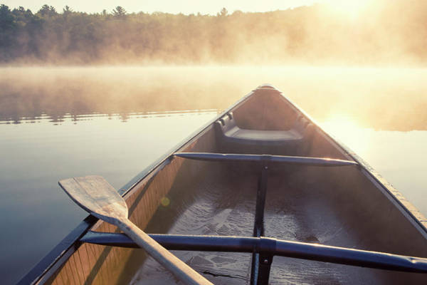 Catskills Photograph - Canoe On Misty Catskills Lake by Stephanie McDowell