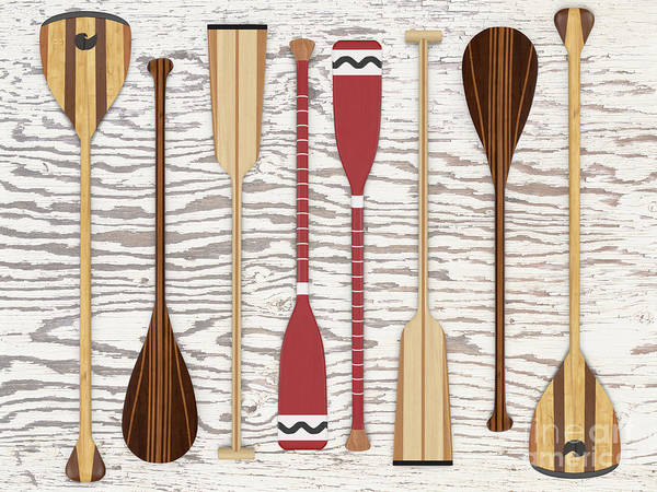 Digital Art - Canoe Paddles And Oars Over Wood by Edward Fielding