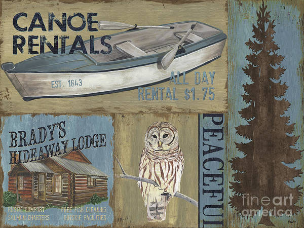 Wall Art - Painting - Canoe Rentals Lodge by Debbie DeWitt