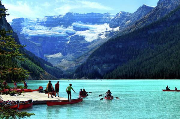 Photograph - Canoe Season On Lake Louise by Ola Allen
