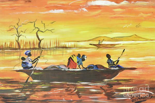 Nigeria Painting - Canoe Trip On The Niger River by John Bernards