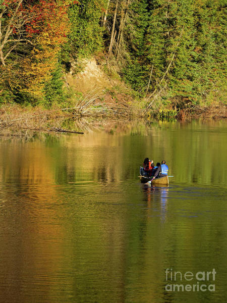 Photograph - Canoeing In Fall by Les Palenik